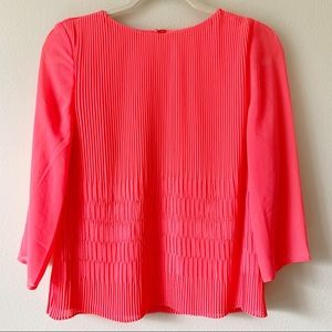 Ted Baker 3/4 Sleeve Pleated Top Bright Pink Sz 2